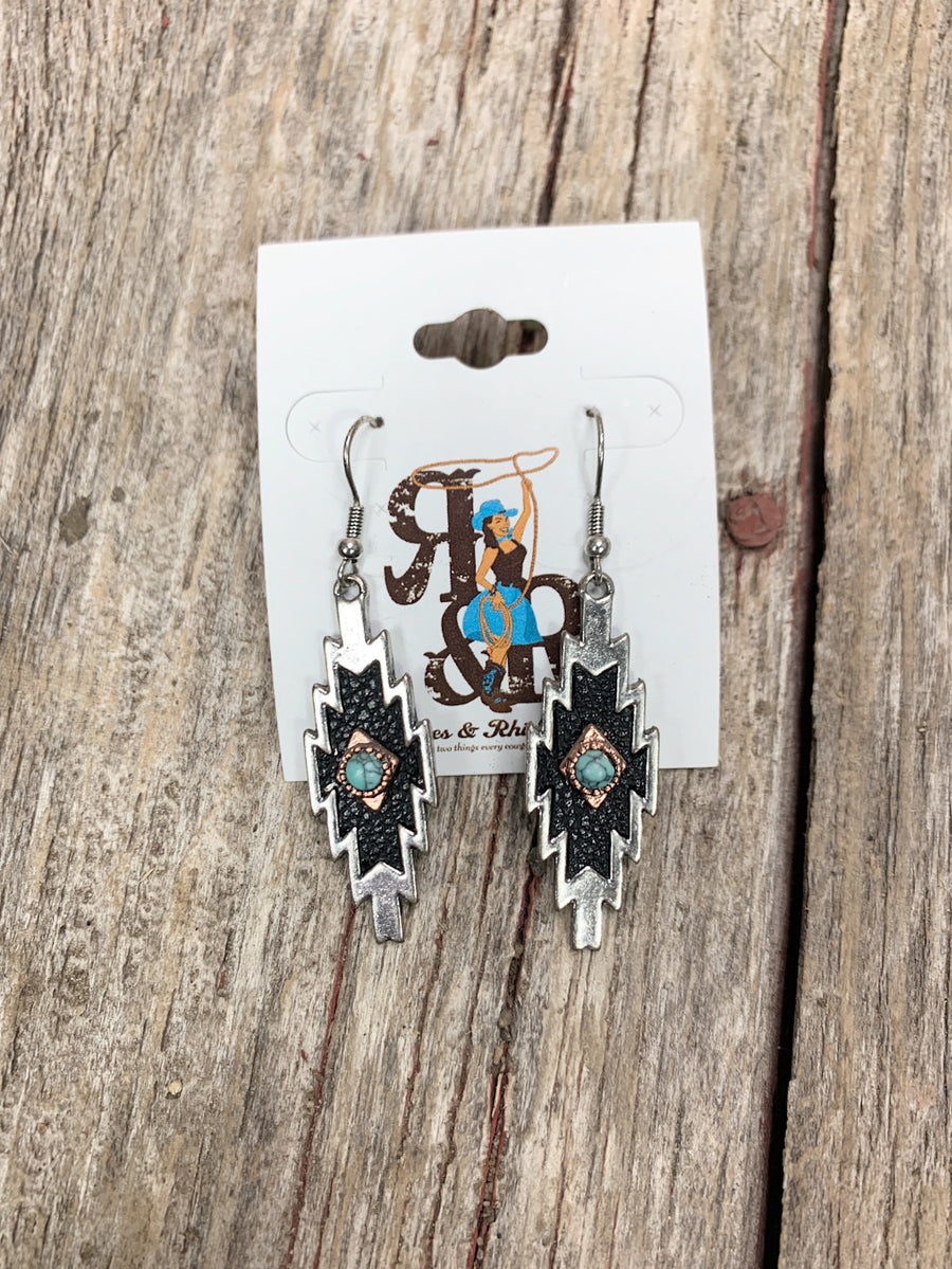 Aztec Leather & Turquoise Earrings
