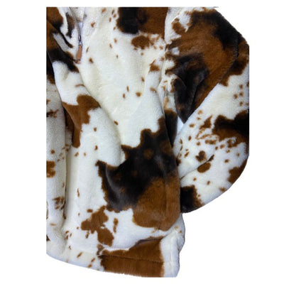 Cowhide Print Sherpa Pull Over