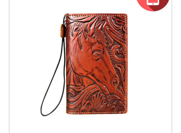 Cell Phone Tooled Leather Cover & Wallet - Ropes and Rhinestones
