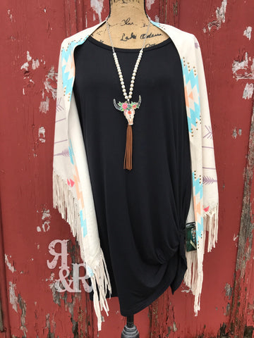 Aztec Arrow Studded Fringe Poncho