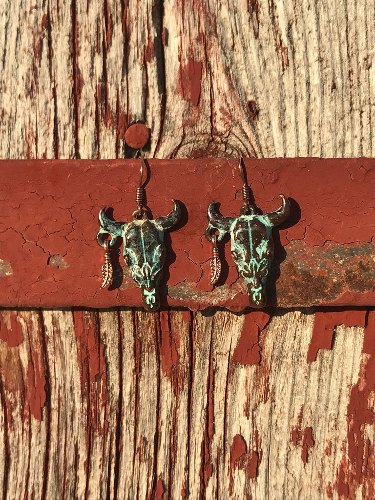 Cow Skull & Feather Earrings - Ropes and Rhinestones