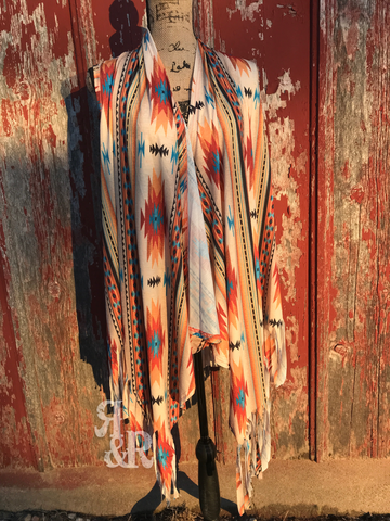 Aztec Fringe Vest - Ropes and Rhinestones