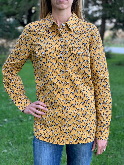 Cow Skull Mustard Snap Shirt