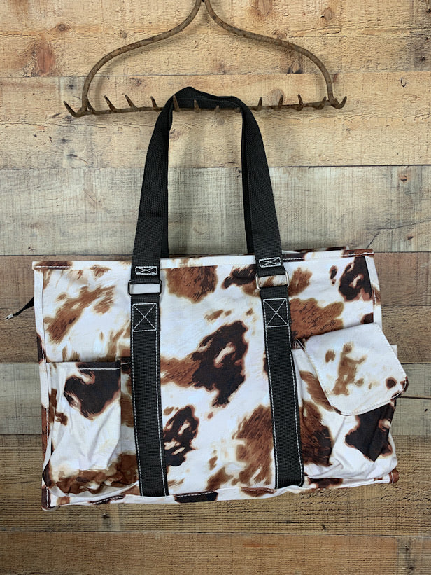 Cow Print Zippered Tote Bag