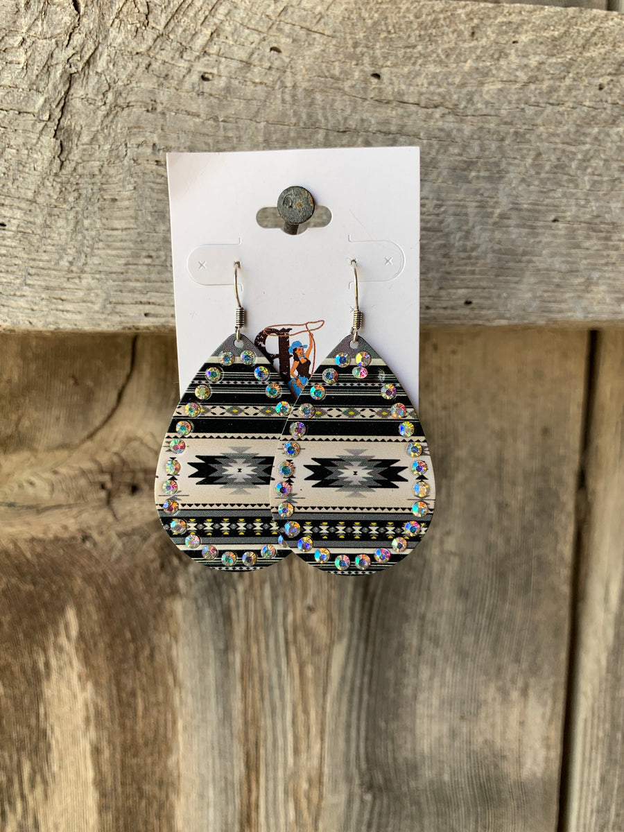 Aztec & Rhinestone Tear Drop Earrings Black