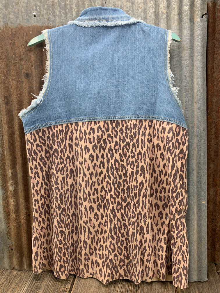 Leopard & Denim Sleeveless Shirt