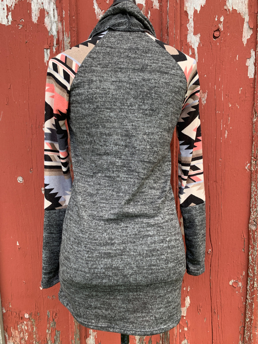 Aztec Sleeve Cowl Neck Top