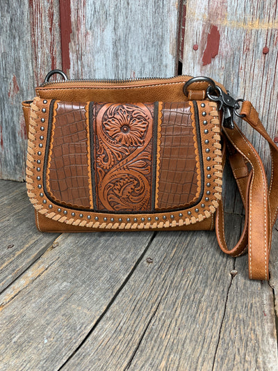 Tooled Leather & Croc Cross Body Purse