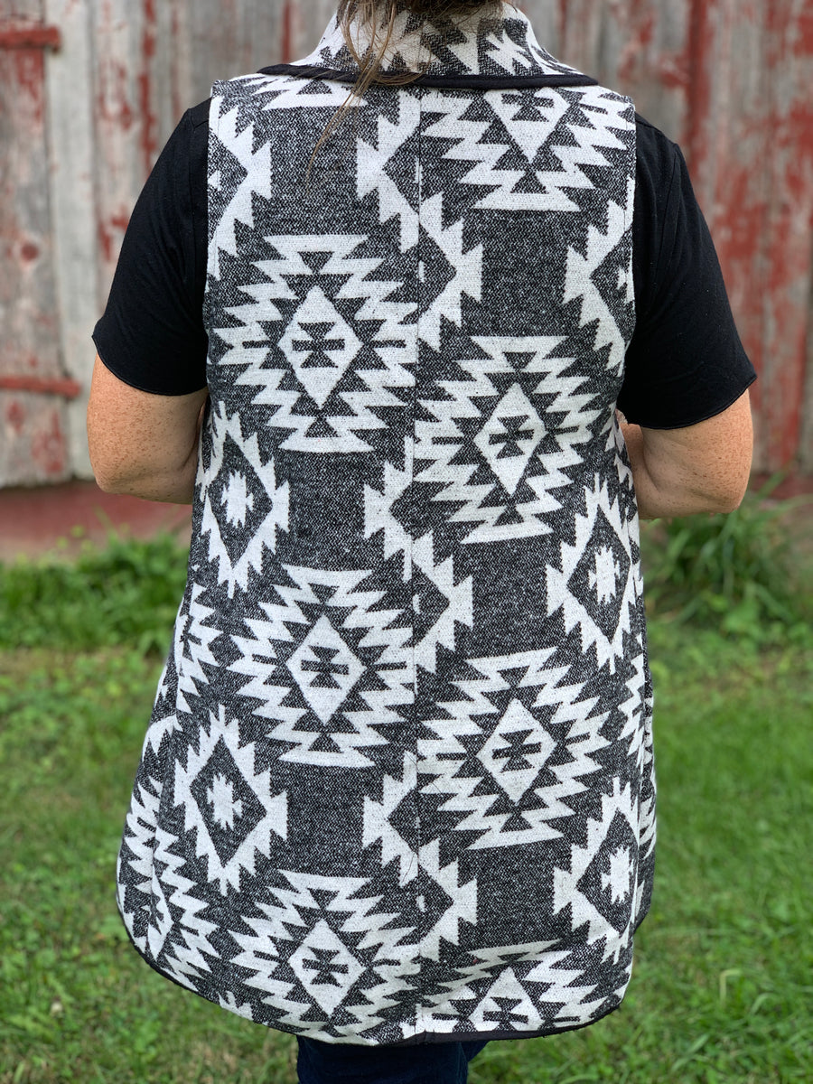 Black & White Aztec Vest