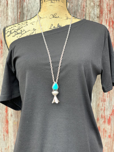 Turquoise Teardrop Single Squash Blossom Necklace Set