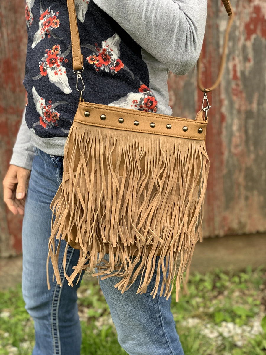 Studded Fringe Crossbody Purse