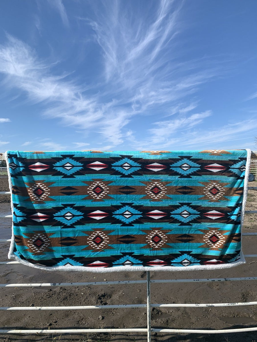 Turquoise Aztec Sherpa Baby Blanket
