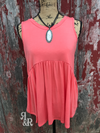 Babydoll Tank Top Coral - Ropes and Rhinestones