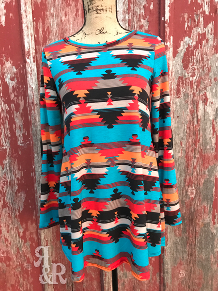 Aztec Tunic Top With Pockets