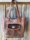 Tooled Leather & Cowhide Tote