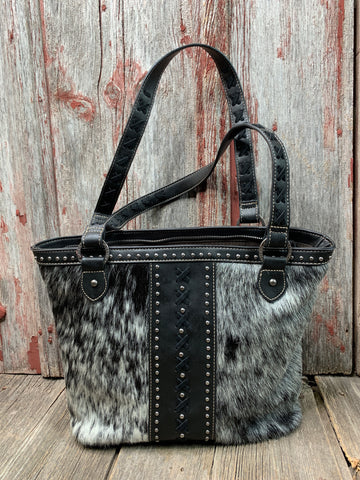 Cowhide Criss Cross Tote Bag