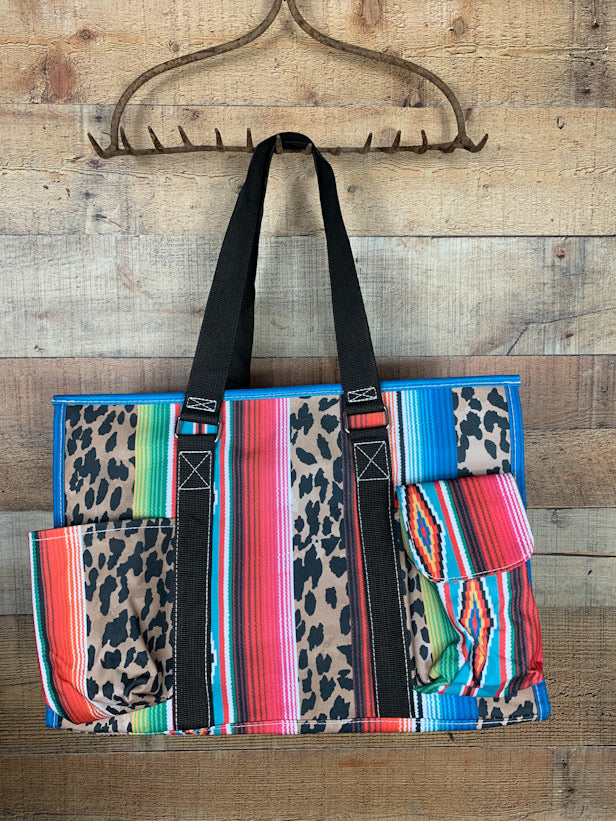 Serape & Leopard Zippered Tote Bag