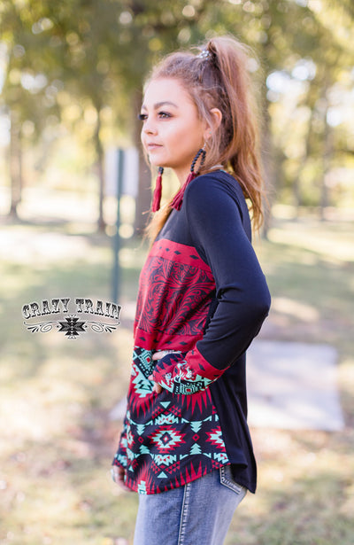 Rodeo Red Aztec Leather Top