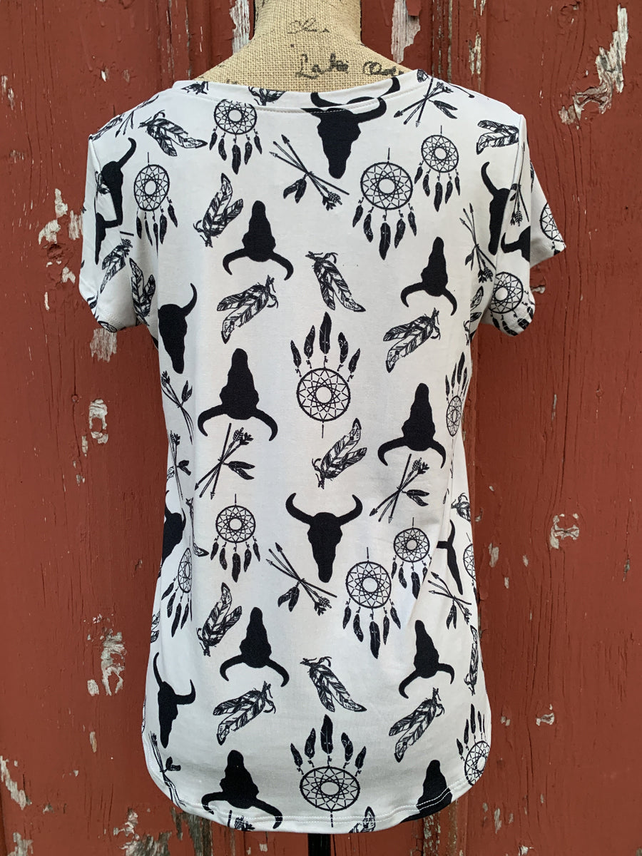 Western Print Short Sleeve Top