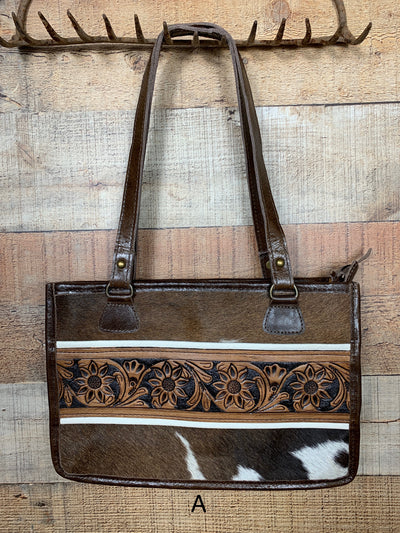 Mini Cowhide & Tooled Leather Tote