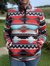Turquoise & Red Aztec 3/4 Zip Top