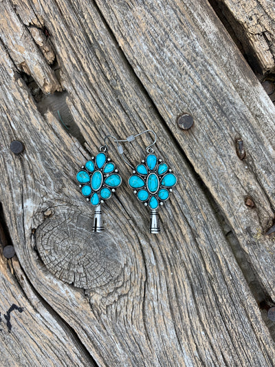 Single Squash Earrings with Turquoise