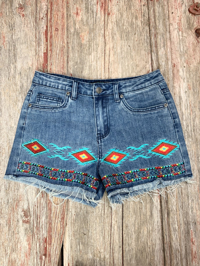 Aztec Band Embroidered Shorts