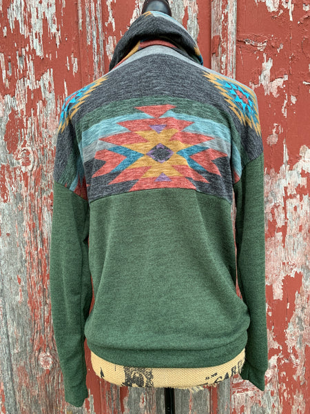 Aztec Cowl Neck Pullover - Ropes and Rhinestones