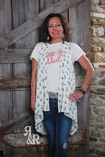 Cactus Hi Lo Vest - Ropes and Rhinestones