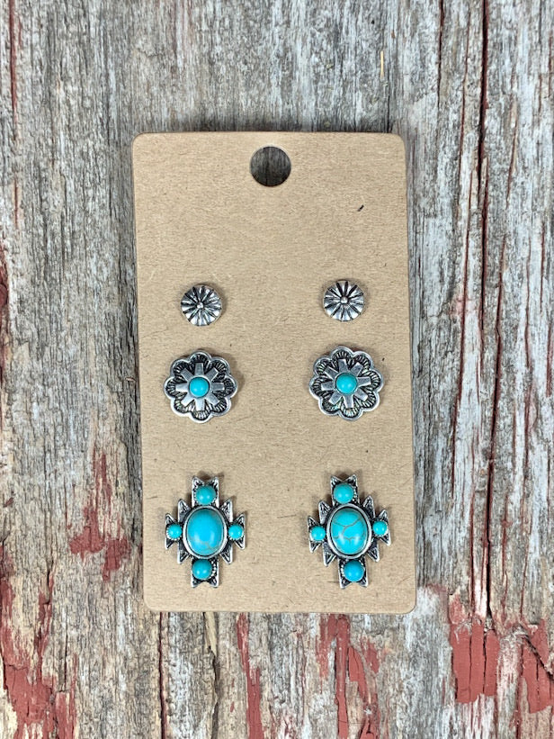 Aztec & Spur Rowel Turquoise Earring Set