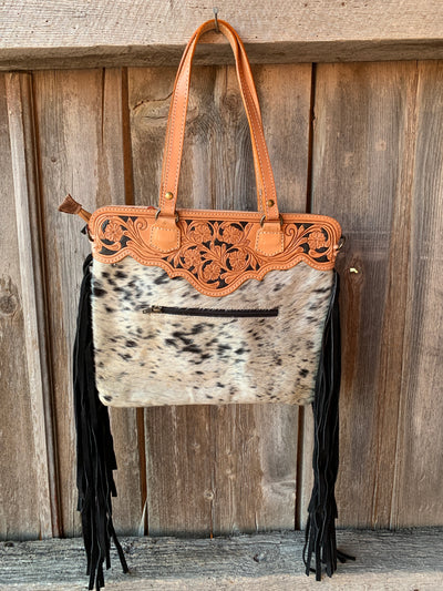 Gold Buckle Cowhide Fringe Purse