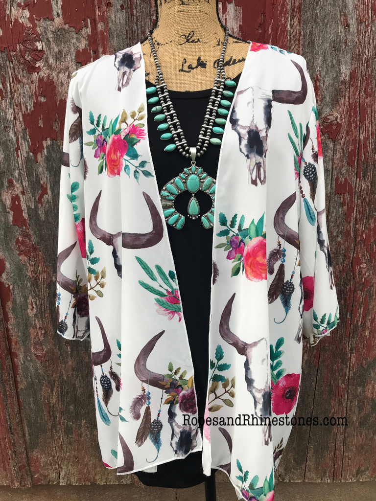 Cow Skull & Floral Kimono - Ropes and Rhinestones