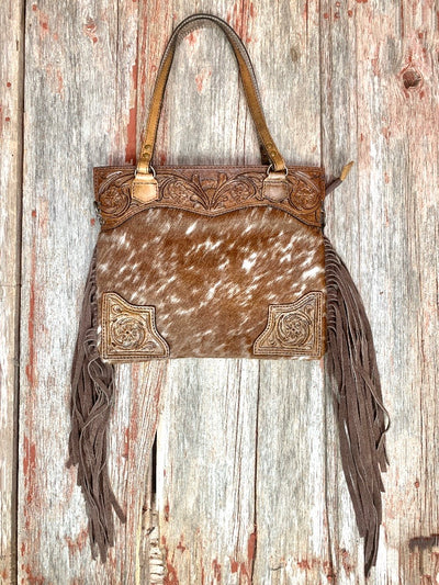 Cowtown Tooled Leather & Cowhide Fringe Purse