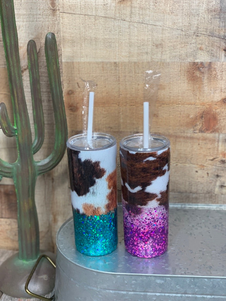 Cowhide Print Glitter Cup
