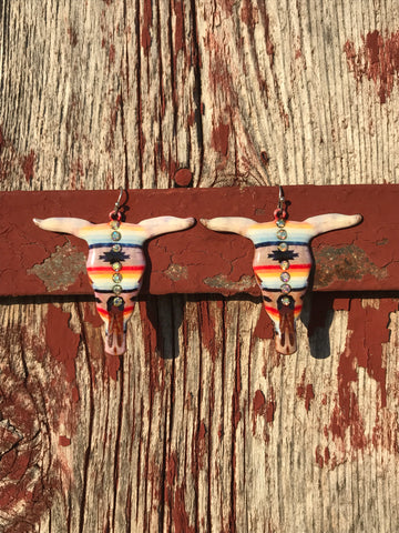 Serape Sunset Cow Skull Earrings