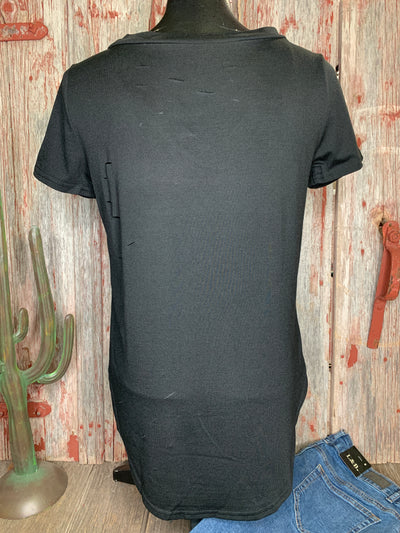 Distressed Cross Cross Tee