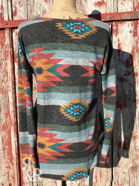 Aztec Long Sleeve Top - Ropes and Rhinestones