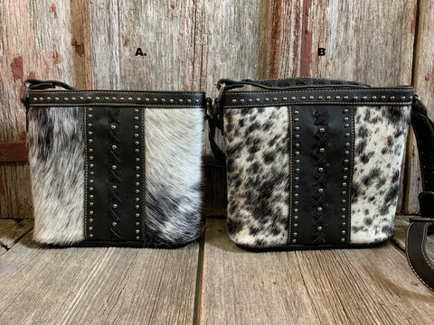 Cowhide Criss Cross Crossbody Purse
