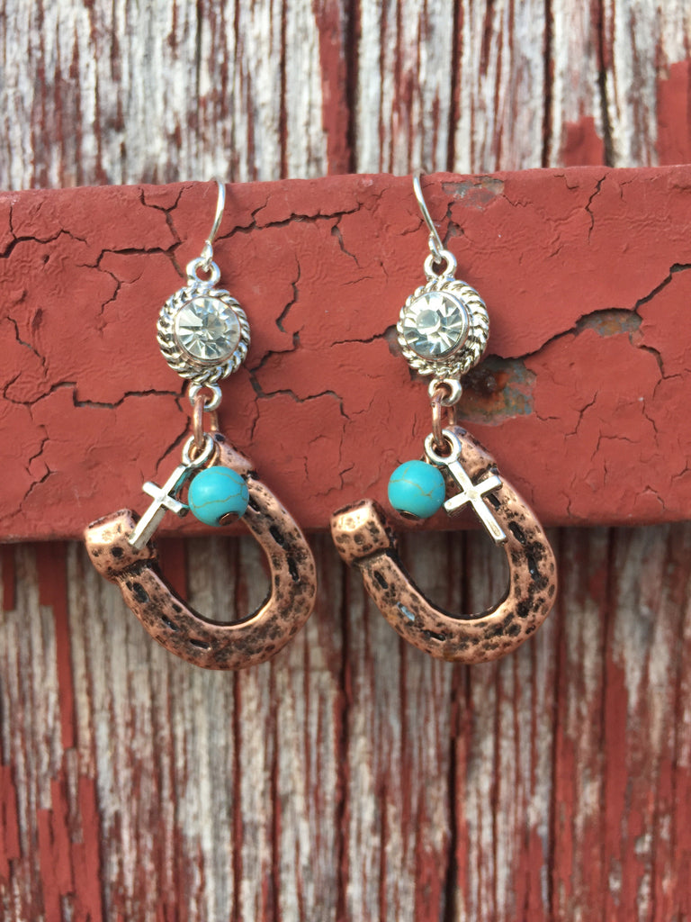 Copper Horseshoe Earrings - Ropes and Rhinestones