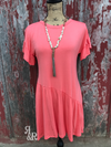 Ruffle Sleeve Coral Dress