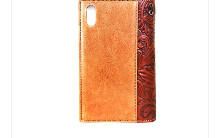 Cell Phone Tooled Leather Cover & Wallet
