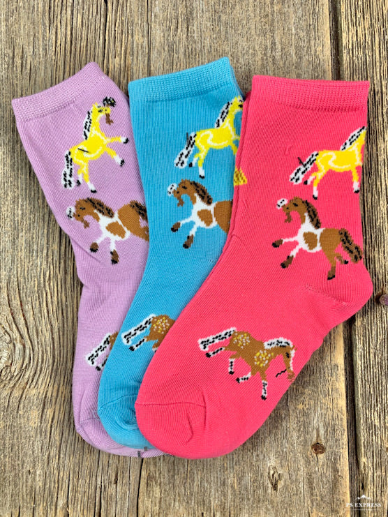 Youth pony print socks 3 pack