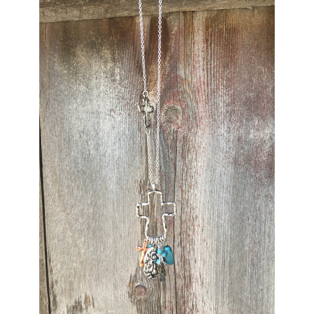 Cross Charm Necklace - Ropes and Rhinestones