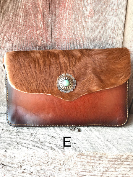 Cowhide & Concho Cross Body Purse - Ropes and Rhinestones