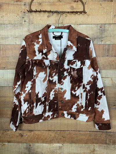 Cow Print Denim Jacket