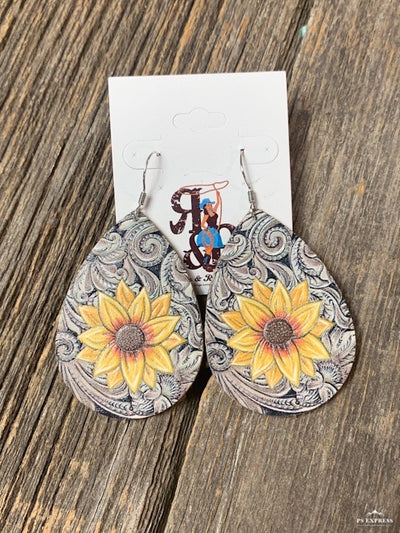 Tooled Leather & Sunflower Earrings