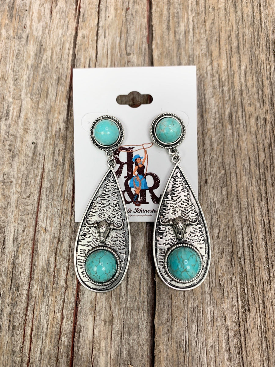Cow Skull Turquoise Tear Drop Earrings