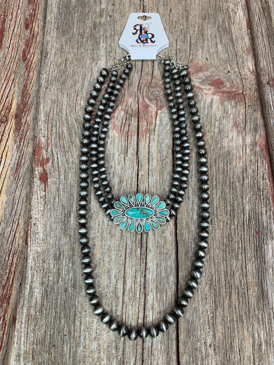Hi Lo Turquoise Navajo Pearl Necklace