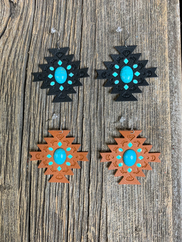 Leather & Turquoise Aztec Earrings