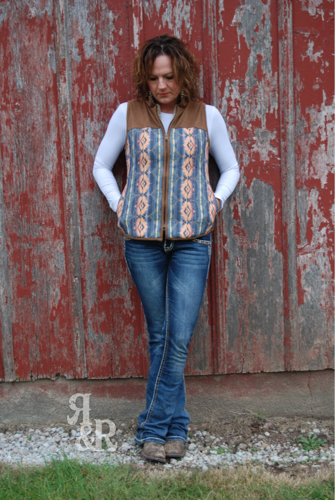 Aztec Suede Vest - Ropes and Rhinestones